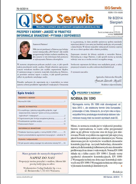 ISO Serwis. Wszystko o normach i systemach zarządzania jakością. Nr 8/2014