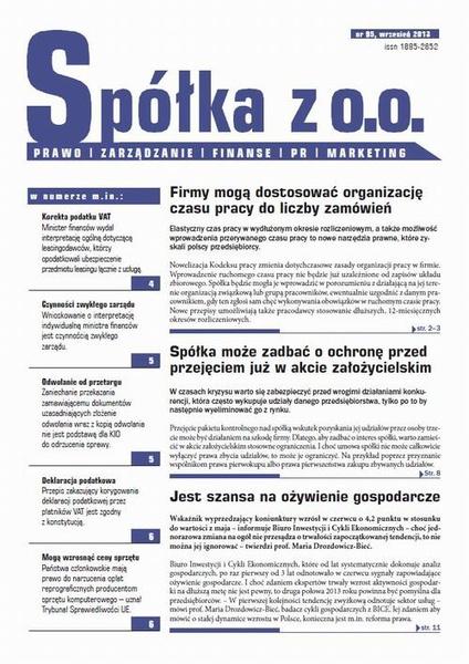 Spóła z o.o. Prawo zarządzanie finanse PR marekting wrzesień 2013 nr 95