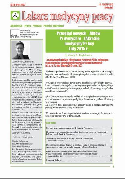 Lekarz Medycyny Pracy on-line Nr 4/2015