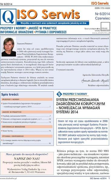 ISO Serwis. Wszystko o normach i systemach zarządzania jakością. Nr 6/2014
