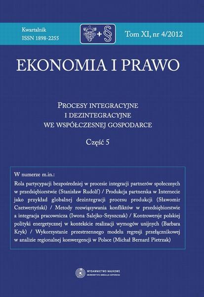 Ekonomia i prawo 2012, t. 11: Procesy integracyjne i dezintegracyjne we współczesnej gospodarce, cz. 5