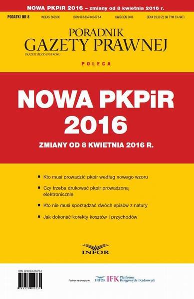 Nowa PKPIR 2016 – zmiany od 8 kwietnia 2016 r.