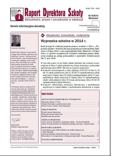 Raport Dyrektora Szkoły. Aktualności, prawo i zarządzanie w edukacji. Nr 9/2014