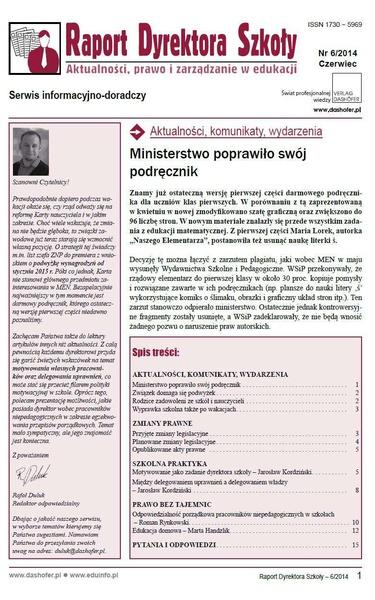 Raport Dyrektora Szkoły. Aktualności, prawo i zarządzanie w edukacji. Nr 6/2014