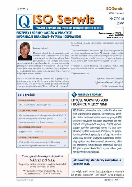 ISO Serwis. Wszystko o normach i systemach zarządzania jakością. Nr 7/2014