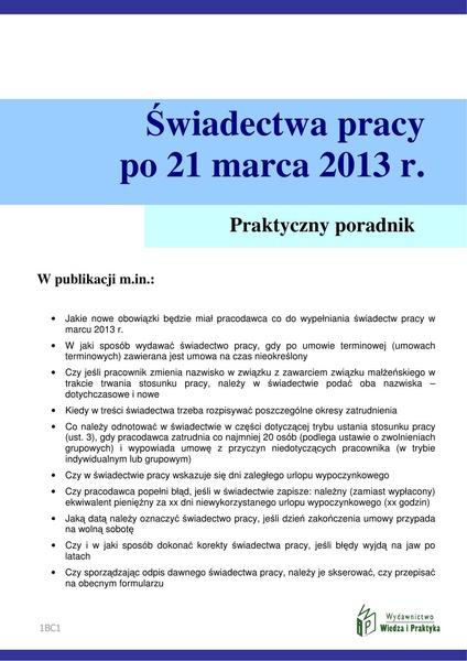 Świadectwa pracy po umowach terminowych od 21 marca 2013 r.