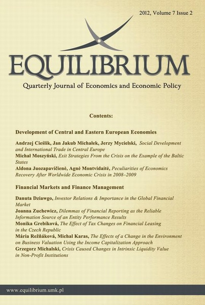 Equilibrium. Quarterly Journal of Economics and Economic Policy 2012, Volume 7 Issue 2