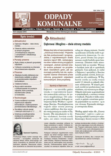 Odpady komunalne. Nr 8/2015