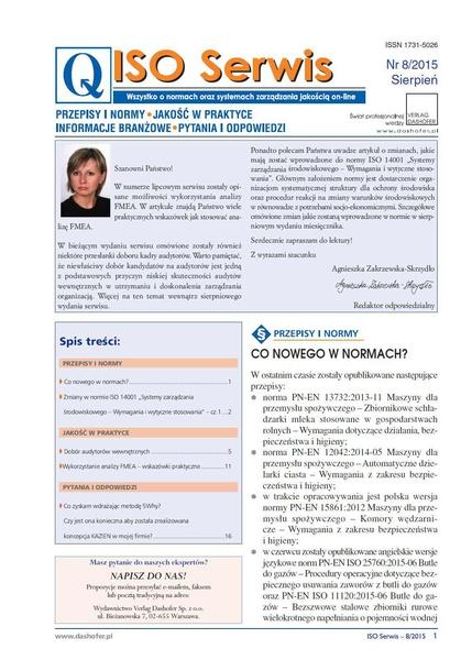 ISO Serwis. Wszystko o normach i systemach zarządzania jakością. Nr 8/2015