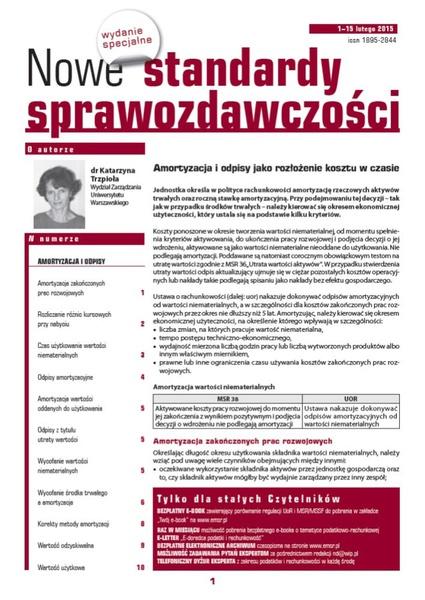 Nowe Standardy Sprawozdawczości, wydanie specjalne: Amortyzacja i odpisy jako rozłożenie kosztu w czasie