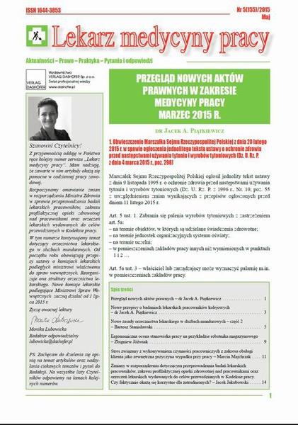 Lekarz Medycyny Pracy on-line Nr 5/2015