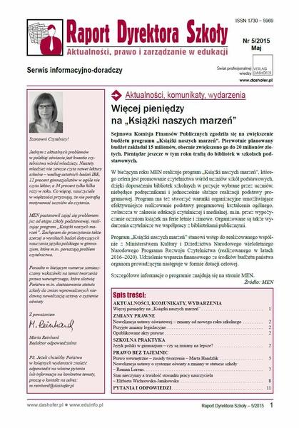 Raport Dyrektora Szkoły. Aktualności, prawo i zarządzanie w edukacji. Nr 5/2015