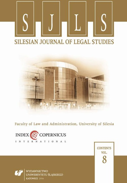 """Silesian Journal of Legal Studies"". Vol. 8"