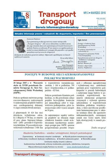Transport drogowy. Aktualne informacje prawne i wskazówki dla eksporterów, importerów i firm przewozowych. Nr 3/2015