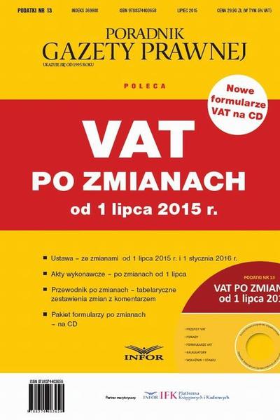 VAT po zmianach od 1 lipca 2015 r.