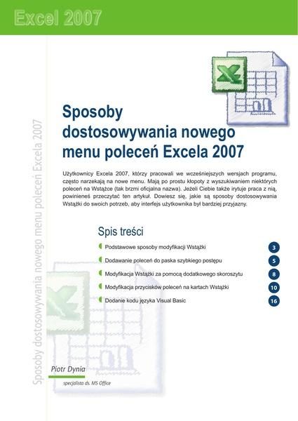 Sposoby dostosowywania nowego menu poleceń Excela 2007
