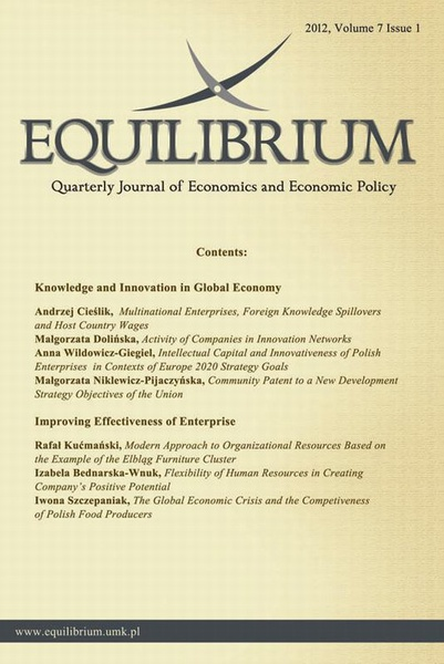 Equilibrium. Quarterly Journal of Economics and Economic Policy 2012, Volume 7 Issue 1