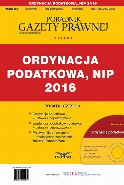 PODATKI 2016/5  Podatki cz.3 Ordynacja podatkowa, NIP 2016