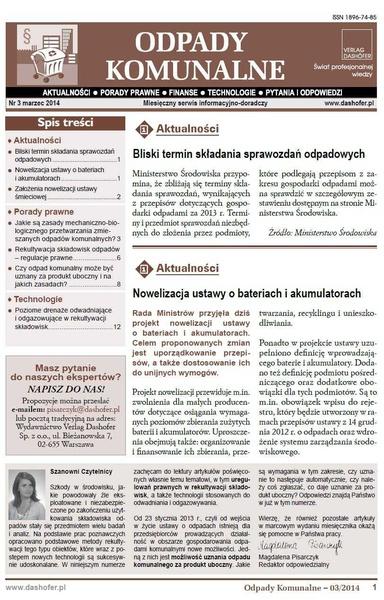 Odpady komunalne. Nr 3/2014