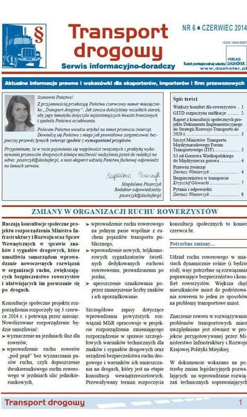 Transport drogowy. Aktualne informacje prawne i wskazówki dla eksporterów, importerów i firm przewozowych. Nr 6/2014