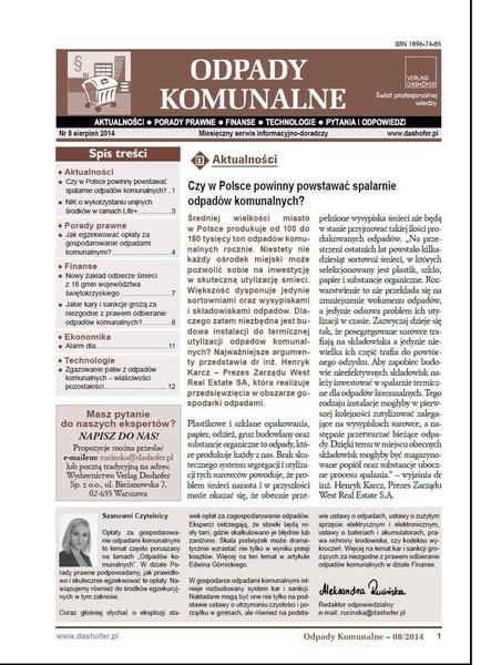 Odpady komunalne. Nr 8/2014