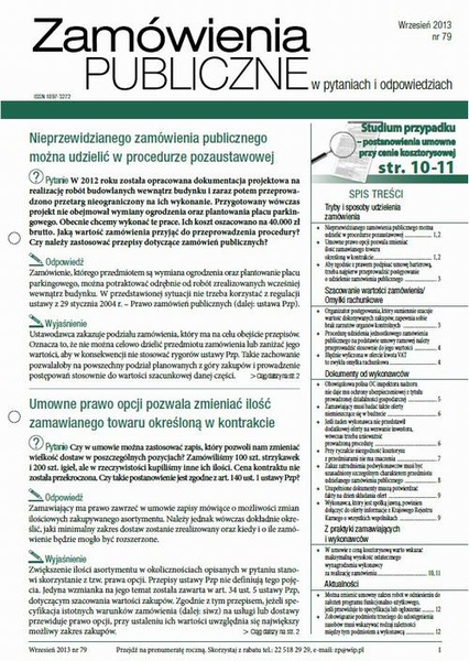 Zamówienia publiczne w pytaniach i odpowiedziach wrzesień 2013 nr 79