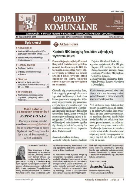 Odpady komunalne. Nr 10/2014