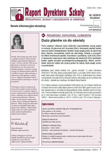 Raport Dyrektora Szkoły. Aktualności, prawo i zarządzanie w edukacji. Nr 12/2015