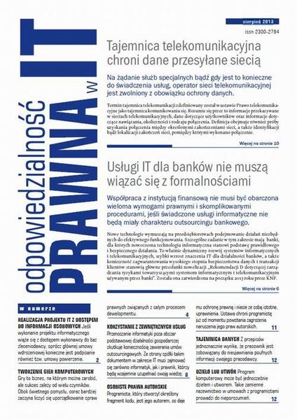 Odpowiedzialność prawna w IT sierpień 2013