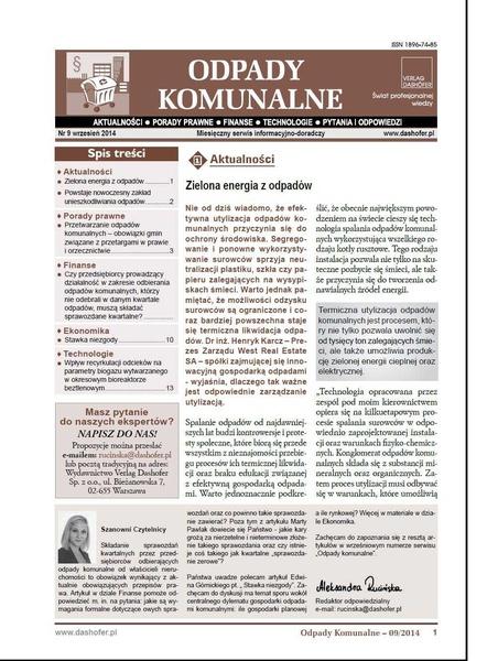 Odpady komunalne. Nr 9/2014