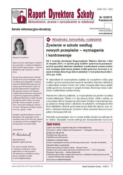 Raport Dyrektora Szkoły. Aktualności, prawo i zarządzanie w edukacji. Nr 10/2015