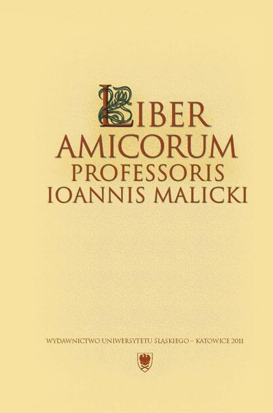Liber amicorum Professoris Ioannis Malicki