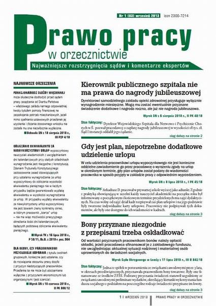 Prawo pracy w orzecznictwie wrzesień 2013 nr 1 (83)