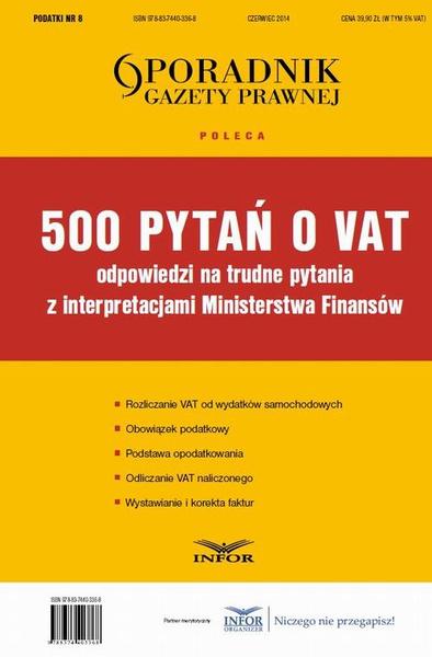 500 pytań o VAT - odpowiedzi z interpretacjami MF