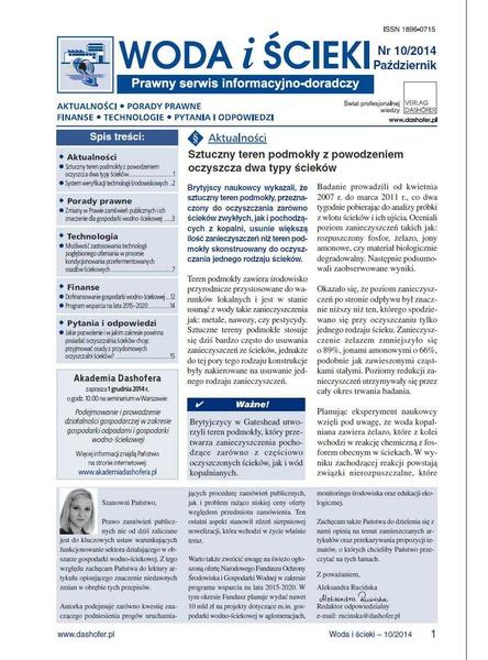 Woda i ścieki. Prawny serwis informacyjno-doradczy. Nr 10/2014