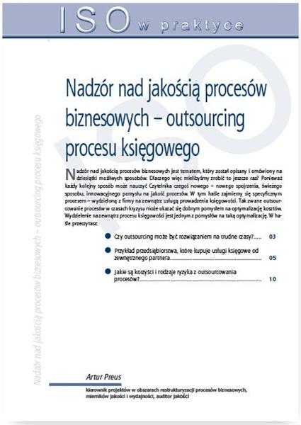 Nadzór nad jakością procesów biznesowych – outsourcing procesu księgowego. Wydanie 2