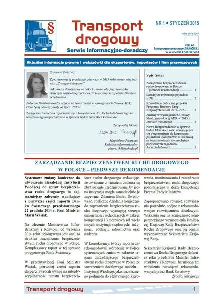Transport drogowy. Aktualne informacje prawne i wskazówki dla eksporterów, importerów i firm przewozowych. Nr 1/2015